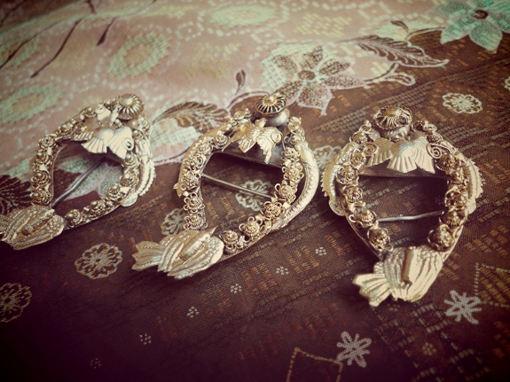 My Antique Keronsang brooches. I acquired them from an antique dealer like 6 years ago. About 100 years old, and the details on the phoenix birds are all not intact. I still love them, nonetheless.