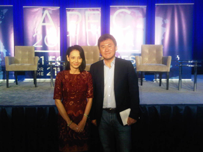 Hiroshi Mikitani of Rakuten and I after the APEC CEO panel