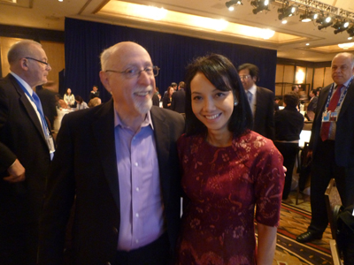 Walt Mossberg and Me in my red Limaran dress